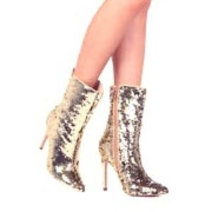 New Rose Gold Sequined Ankle Boots